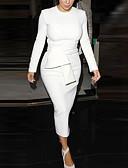 abordables Vestidos de Mujer-Mujer Fiesta Trabajo Chic de Calle Sofisticado Algodón Corte Bodycon Vaina Vestido Un Color Midi Blanco y Negro / Sexy