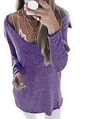 billige Topper til damer-Dame Daglig Grunnleggende Ensfarget Langermet Store størrelser Normal Pullover, V-hals Grå / Lilla / Kakifarget XXXL / 4XL / XXXXXL