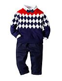 billige Hettegensere og gensere til gutter-Barn / Baby Gutt Aktiv / Grunnleggende Daglig / Bursdag Fargeblokk Langermet Normal Normal Rayon / Modal / Polyester Tøysett Navyblå