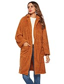 cheap Women's Coats & Trench Coats-Women's Daily Winter Long Coat, Solid Colored Rolled collar Long Sleeve Polyester Brown M / L / XL / Batwing Sleeve / Loose