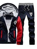 お買い得  メンズフーディー&スウェットシャツ-男性用 活発的 プラスサイズ パンツ - ソリッド ルビーレッド / フード付き / 長袖