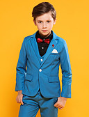 ราคาถูก ชุดสูทสำหรับเด็ก-สีน้ำเงินเข้ม / น้ำเงินท้องฟ้า ฝ้าย / POLY / วิสโคส แหวนสูทถือ - 3 ชิ้น รวม แจ๊คเก็ต / เสื้อกั๊ก / กางเกง