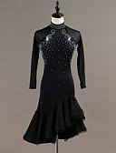 hesapli Gece Elbiseleri-Latin Dansı Elbiseler Kadın's Eğitim / Performans Splandeks / Tül Kristaller / Yapay Elmaslar Uzun Kollu Yüksek Elbise