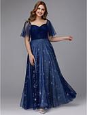 baratos Vestidos de Noite-Linha A Decote Princesa Longo Tule Brilho & Glitter Vestido com Cruzado de TS Couture® / Baile de Formatura