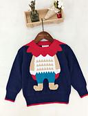 baratos Blusas Femininas-Infantil / Bébé Para Meninos Básico Natal Estampado Manga Longa Padrão Poliéster Suéter & Cardigan Vermelho 100