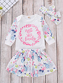 povoljno Kompletići za dječake-Dijete koje je tek prohodalo Djevojčice Aktivan Osnovni Cvjetni print Dugih rukava Pamuk Komplet odjeće Obala