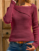 cheap Women's Sweaters-Women's Daily Basic Solid Colored Long Sleeve Plus Size Regular Pullover, Round Neck Purple / Yellow / Wine XXXL / 4XL / XXXXXL