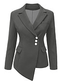 cheap Bikinis-Women's Party Business Regular Blazer, Solid Colored Shirt Collar Long Sleeve Polyester Blue / Black / Gray XL / XXL / XXXL