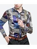 זול חולצות לגברים-חולצת גברים רזה - צווארון חולצה גיאומטרי