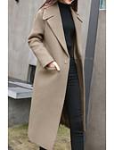 cheap Women's Trench Coats-Women's Daily Basic Long Coat, Solid Colored Notch Lapel Long Sleeve Polyester Black / Army Green / Khaki L / XL / XXL