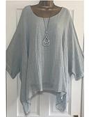 abordables Chemises Femme-Tee-shirt Grandes Tailles Femme, Couleur Pleine Chic de Rue Rose Claire