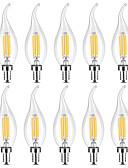 abordables Robes de Travail-YWXLIGHT® 10pcs 4 W Ampoules Bougies LED Ampoules à Filament LED 300-400 lm E14 C35 4 Perles LED COB Intensité Réglable Blanc Chaud Blanc 220-240 V