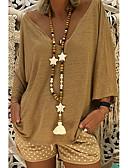 billige Bluse-V-hals Løstsiddende Dame - Ensfarvet Gade Plusstørrelser T-shirt Lyserød