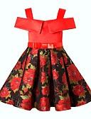 tanie Damskie płaszcze z futrem naturalnym i sztucznym-Dzieci Dla dziewczynek Podstawowy Solidne kolory Krótki rękaw Sukienka Czarny