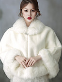 cheap Wedding Dresses-Sleeveless Faux Fur Wedding / Birthday Women's Wrap With Crystal Brooch Capelets