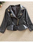 levne Dětské bundičky a kabátky-Dítě Dívčí Základní Denní Jednobarevné Dlouhý rukáv Standardní Umělá kůže Bundičky a kabáty Černá / Toddler