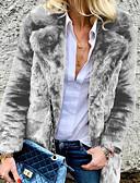 cheap Women's Fur & Faux Fur Coats-Women's Daily Casual / Street chic Long Coat, Solid Colored Turndown Long Sleeve Faux Fur Black / Gray / Khaki XL / XXL / XXXL