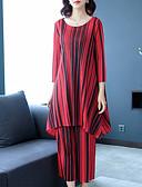 economico Completi due pezzi da donna-Per donna Moda città Set A strisce Pantalone