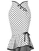 preiswerte Damen Röcke-Damen Street Schick / Anspruchsvoll Arbeit Bodycon / Trompete / Meerjungfrau Röcke - Punkt Schwarz & Weiß Hohe Taillenlinie / Sexy