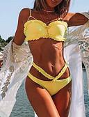 olcso Bikinik és fürdőruhák 2017-Női Alap / Boho Pántos Rubin Sárga Világoszöld Trokuti Merész Bikini Fürdőruha - Egyszínű Fodrozott S M L / Szuper szexi