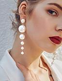 hesapli Kadın Elbiseleri-Kadın's Beyaz Tatlı su incisi Damla Küpeler Asılı Küpeler Koraliki Bayan Şık Zarif Her gün İnci Küpeler Mücevher Beyaz Uyumluluk Düğün Doğumgünü Gece Partisi Maskeli Balo Nişan Partisi Balo 1 çift