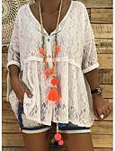 economico Cappelli da donna-T-shirt - Taglie forti Per donna Moda città Tinta unita A V scollato