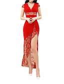 저렴한 로맨틱 레이스-여성용 스트리트 쉬크 슬림 칼집 드레스 무릎길이 V 넥