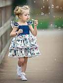 billige Sett med babyklær-Baby Jente Aktiv / Gatemote Fest / Bursdag BLå & Hvit Blomstret Blondér / Trykt mønster Ermeløs Normal Normal Ovenfor knéet Bomull / Spandex Kjole Blå