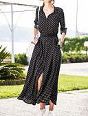 povoljno Maxi haljine-žensko odlazak ljuljačka haljina gornji ovratnik košulje