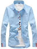cheap Men's Shirts-Men's Business / Basic Cotton Shirt - Solid Colored Classic Collar / Long Sleeve / Spring / Fall / Work