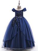 זול שמלות לילדות פרחים-נסיכה עד הריצפה שמלה לנערת הפרחים - פוליאסטר שרוולים קצרים סירה מתחת לכתפיים עם ריקמה / תחרה על ידי LAN TING Express