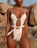 ieftine Bikini & Costume Baie 2017-Pentru femei De Bază Cu Bretele Alb Negru Fucsia Tanga O Piesă Costume de Baie - Mată Cu Șiret M L XL / Sexy