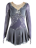 cheap Ice Skating Dresses , Pants & Jackets-Figure Skating Dress Women's / Girls' Ice Skating Dress Gray Spandex High Elasticity Competition Skating Wear Handmade Long Sleeve Ice Skating / Figure Skating
