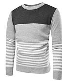 preiswerte Herren Pullover & Strickjacken-Herrn Alltag Grundlegend Einfarbig Langarm Standard Pullover, Rundhalsausschnitt Dunkelgray / Hellgrau M / L / XL