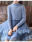 povoljno Haljine za djevojčice-Djeca Djevojčice Osnovni Jednobojni Dugih rukava Pamuk / Poliester Haljina Plava 140