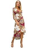tanie Print Dresses-Damskie Boho / Elegancja Pochwa / Syrena Sukienka - Kolorowy blok, Nadruk Do kolan