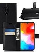 halpa Puhelimen kuoret-Etui Käyttötarkoitus OnePlus OnePlus 6 / One Plus 6T / One Plus 5 Lomapkko / Korttikotelo / Flip Suojakuori Yhtenäinen Kova PU-nahka