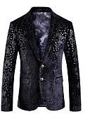 זול בלייזרים וחליפות לגברים-בגדי ריקוד גברים שחור 54 56 58 בלייזר עסקים פרחוני Party / שרוול ארוך / עסקים מקרית