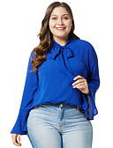 baratos Blusas Femininas-Mulheres Camisa Social Básico Sólido