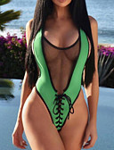 cheap One-piece swimsuits-Women's Basic Plunging Neck Green Red Yellow Cheeky One-piece Swimwear - Solid Colored Letter Backless S M L Green / Sexy