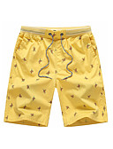 cheap Men's Pants & Shorts-Men's Basic Shorts Pants - Print Yellow / Fall / Weekend