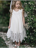 cheap Girls' Dresses-Kids Girls' Sweet Daily Solid Colored Lace Sleeveless Maxi Polyester Dress White