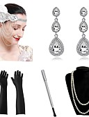 cheap Historical & Vintage Costumes-The Great Gatsby Vintage 1920s The Great Gatsby Roaring 20s Costume Women's Gloves Headpiece Flapper Headband Head Jewelry Necklace Earrings Red / Blue / Golden Vintage Cosplay