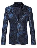 cheap Men's Blazers & Suits-Men's Daily / Club Sophisticated Spring / Fall Plus Size Regular Blazer Notch Lapel Long Sleeve Cotton Print Purple / Blue 4XL / XXXXXL / XXXXXXL / Slim