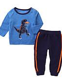 Χαμηλού Κόστους Βρεφικά Για Αγόρια σετ ρούχων-Μωρό Αγορίστικα Βίντατζ Καθημερινά Μονόχρωμο Μακρυμάνικο Κανονικό Ακρυλικό Σετ Ρούχων Θαλασσί / Νήπιο