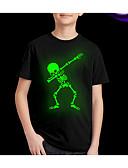 billige Topper til gutter-Barn Gutt Gatemote Trykt mønster Kortermet Normal Polyester T-skjorte Svart