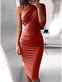 abordables Vestidos de Mujer-Mujer Fiesta Discoteca Básico Delgado Corte Bodycon Vestido - Plisado, Un Color Alta cintura Hasta la Rodilla Un Hombro / Sexy
