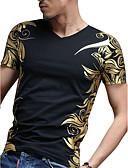 preiswerte Herren T-Shirts & Tank Tops-Herrn Geometrisch T-shirt, Rundhalsausschnitt Schlank Blau XXL / Kurzarm / Sommer