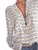 Χαμηλού Κόστους Αντρικά Πουκάμισα-Γυναικεία Μεγάλα Μεγέθη Πουκάμισο Βασικό Γεωμετρικό Κολάρο Πουκαμίσου Στάμπα Λευκό XXXL