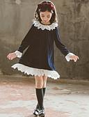 Χαμηλού Κόστους Φορέματα για κορίτσια-Παιδιά Κοριτσίστικα Βασικό Μονόχρωμο Μακρυμάνικο Φόρεμα Βαθυγάλαζο